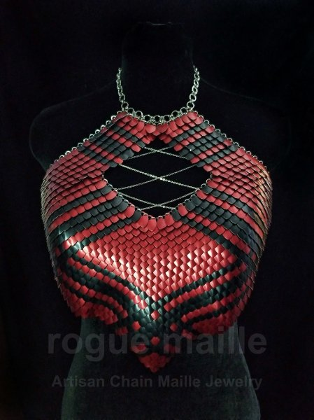 395 - Red Plaid Scale Top