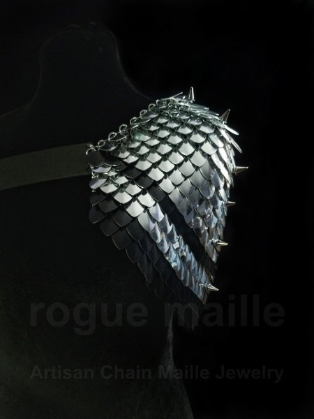 195 - Silver and Black Spiked Pauldron