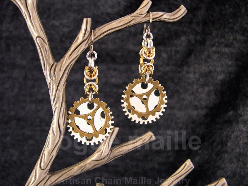 020-Antique Brass Gears Earrings