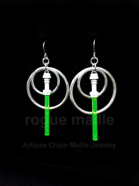 Green Light Saber Earrings