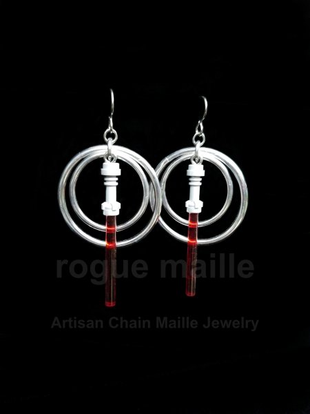 Red Light Saber Earrings