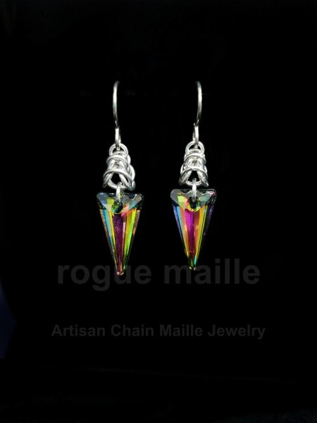 030-Swarovski Spike Earrings