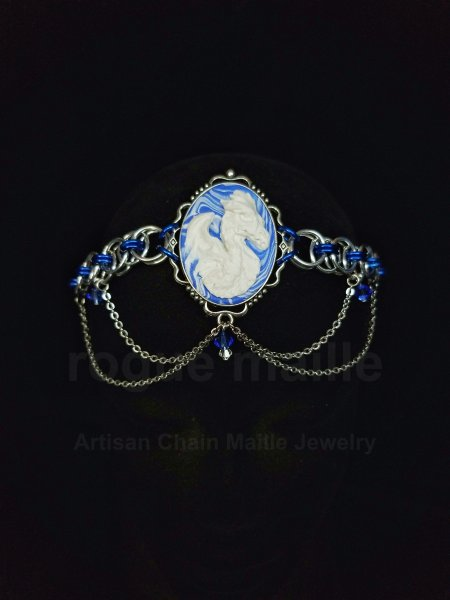 060-Blue Helm Dragon Cameo Headdress