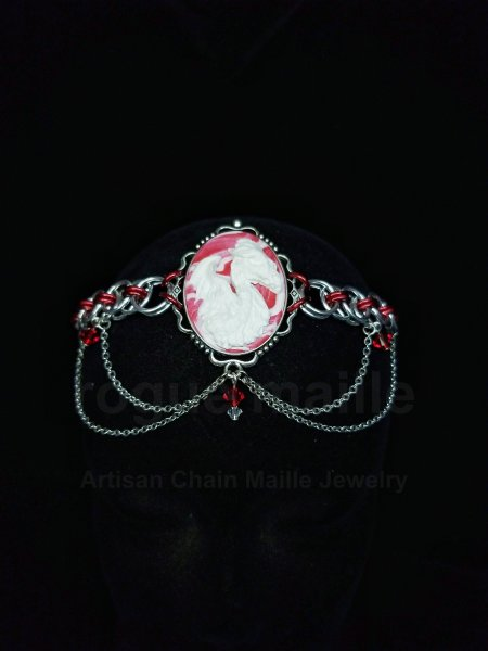 060-Red Helm Dragon Cameo Headdress