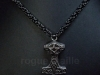 5080-Black Stainless Chain with Thor's Hammer