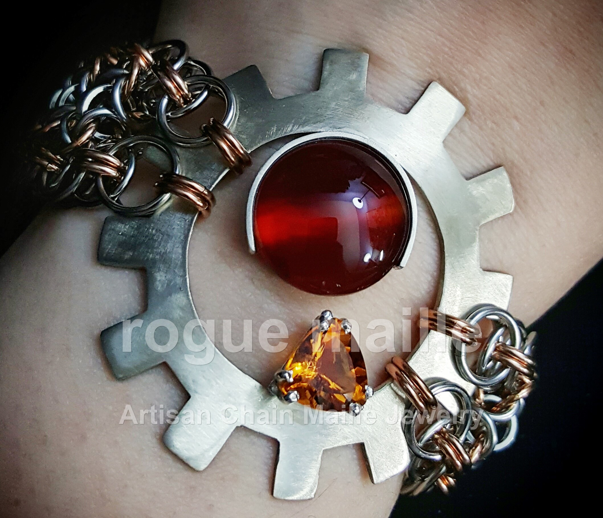 Madiera Citrine and Carnelian Custom Design Bracelet