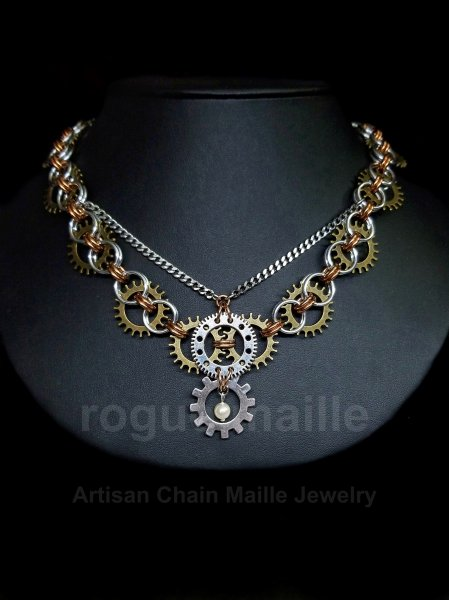 Victorian Helm Gears Necklace
