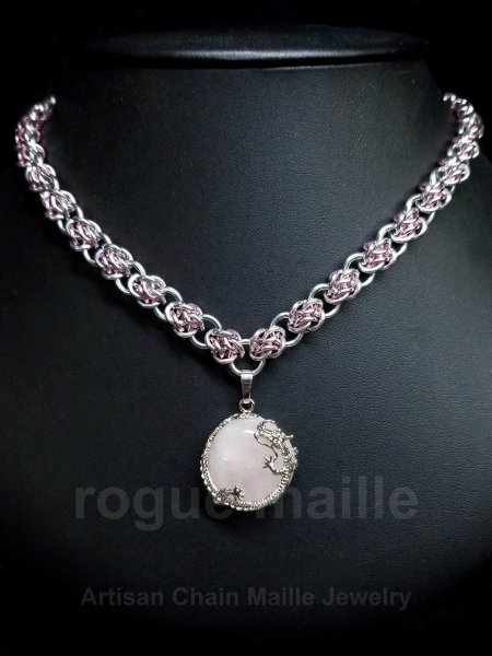 075-Rose Quartz Dragon Cab Necklace