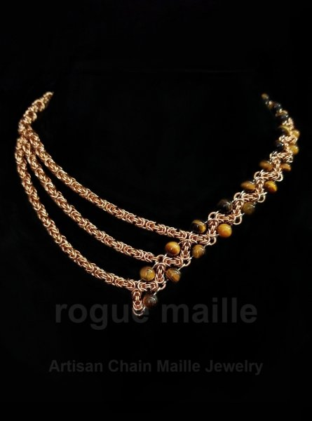 215 - Bronze and Tigers Eye ZigZag Necklace