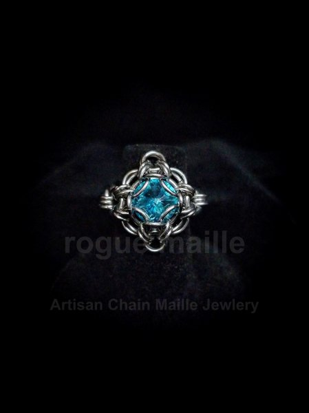 038-Light Turquoise Rivoli Ring