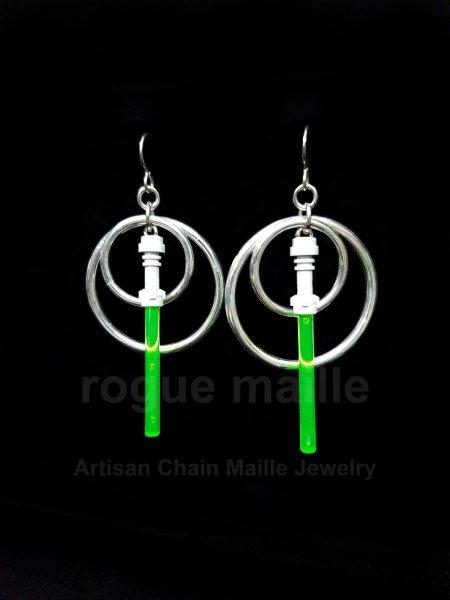 020-Green Light Saber Earrings