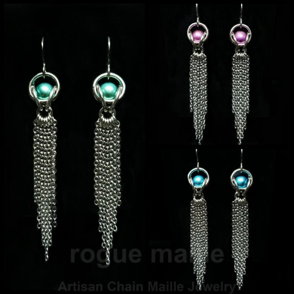 030-Stainless Steel and Titanium Fringe Earrings