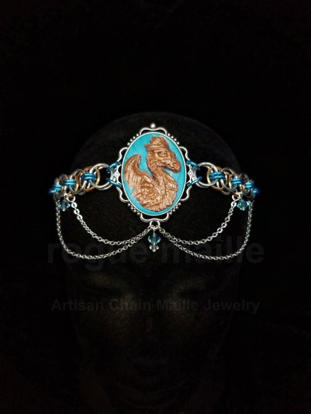 060-Turquoise Helm Dragon Cameo Headdress