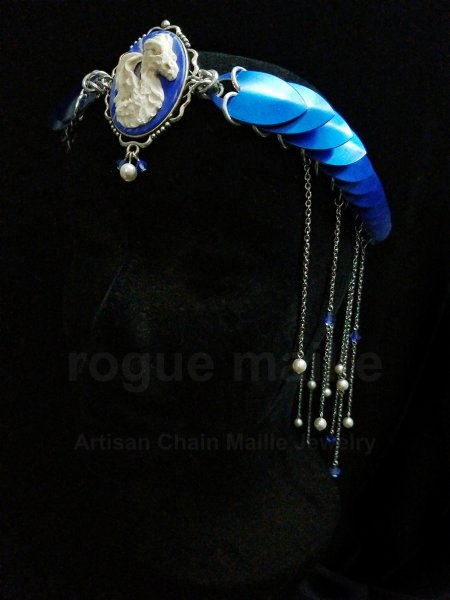110-Dragon Cameo Fringe Headdress