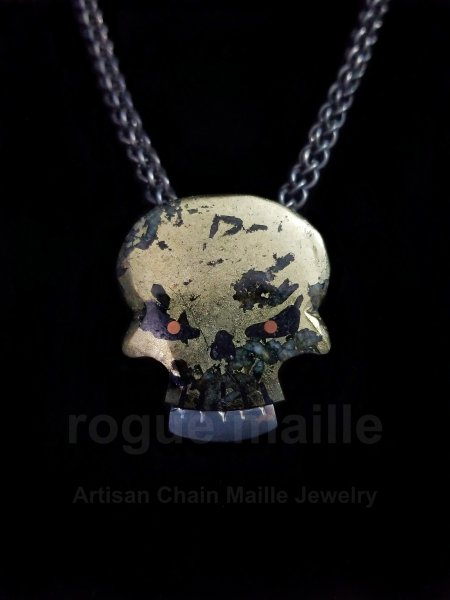 5220 - Chalcopyrite Skull Cab Necklace