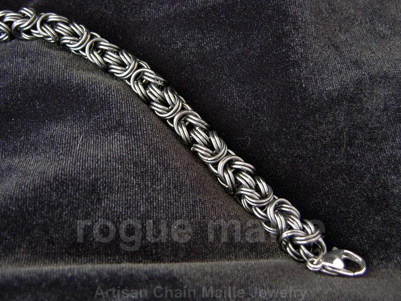 070-Stainless Steel Kinged Byzantine Bracelet