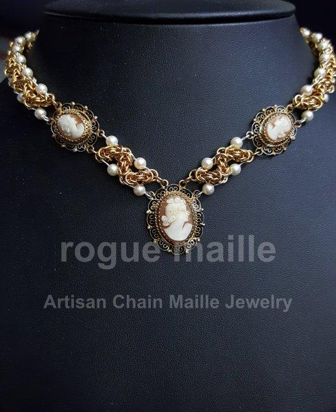037-Vintage Cameo ZigZag Necklace