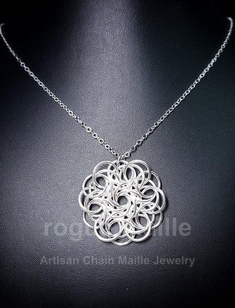 035-Argentium Silver Fused Moorish Rose Pendant