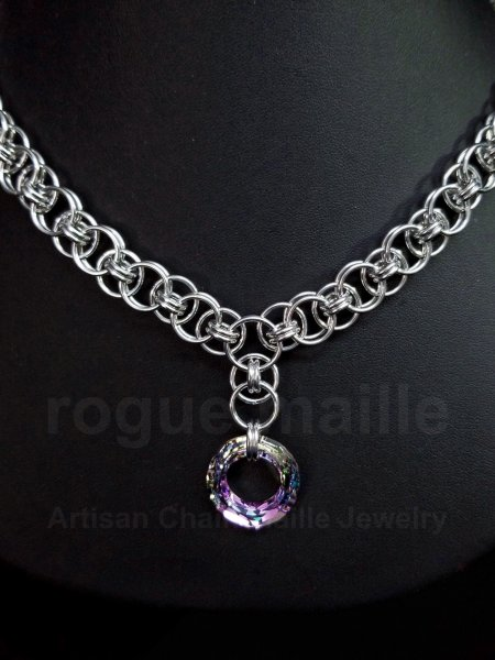 065-Swarovski Crystal Volcano Cosmic Ring Necklace