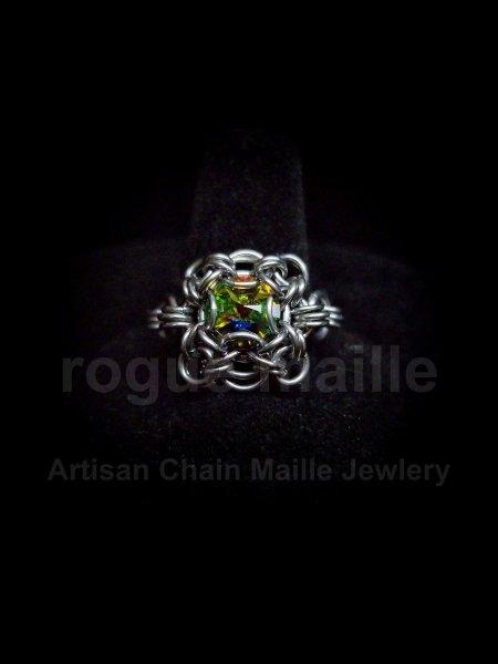038-Square Set Vitrail Medium Rivoli Ring